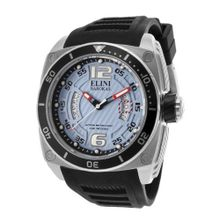 Elini Barokas 10013-012-BB Commander Light Blue Textured Dial Black Silicone