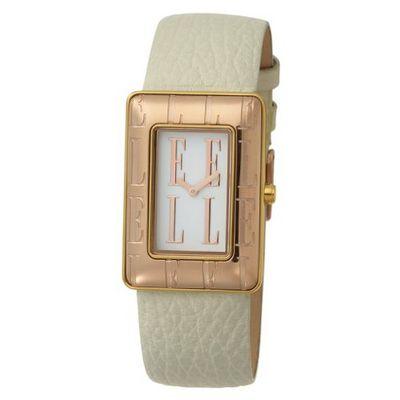 ELLETIME EL20085S02C Ion-Plating White Dial and Rose Gold Indexes White Strap