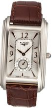 Elysee Quartz with Silver Dial Analogue Display and Brown Leather Strap 69006