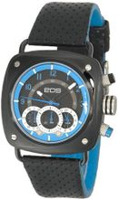 EOS New York 173SBLKBLU Gauge Black Leather Strap