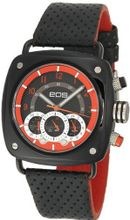 EOS New York 173SBLKRED Gauge Black Leather Strap