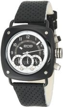 EOS New York 173SBLKWHT Gauge Black Leather Strap
