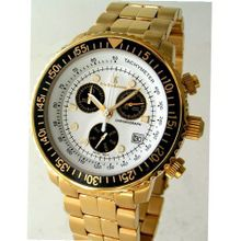 "Eric Edelhausen ""Apex"" Gold Plated Dress Chronograph with Day and Date"