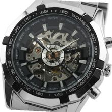 ESS Black Bezel Skeleton Dial Stainless Steel Self-Wind Up Mechanical Automatic WM257