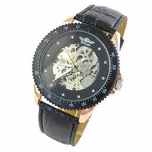 ESS Black Dial Leather Luxury Rose Gold Case Self-Wind Up Mechanical Automatic WM096