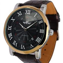 ESS Black Dial Roman Numerals Leather Strap Self-Wind Up Automatic Mechanical WM289