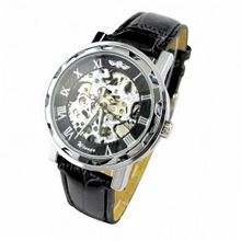 ESS Black Leather Luxury Stainless Case Self-Wind Up Mechanical Automatic WM125