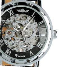 ESS Black Leather Luxury Stainless Steel Skeleton Hand-Wind Up Mechanical WM090
