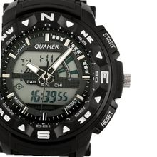ESS Black Rubber Strap Analog Digital Dual Dial Luxury LED Sport WS082