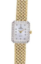 Euro Geneve 14K Gold Diamond Ladies' Rectangle with Mesh Band-47620