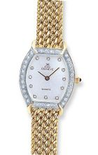 Euro Geneve 14k Gold Ladies' Diamond Tonneau With Mesh Band-47618