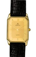 Euro Geneve 14K Gold Rectangle Leather Band With Two Tone Dial