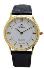 Euro Geneve 14K Gold Round Leather Band With White Dial