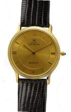 Euro Geneve 14K Gold Round Leather Band