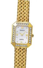 Euro Geneve 14K Yellow Gold Ladies' Diamond Rectangle With Mesh Band-47650