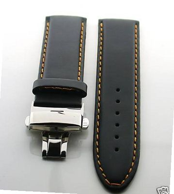 18mm Leather Deployment Strap for IWC Portuguese OS #2 Blk