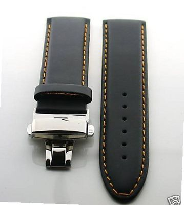 20mm Leather Deployment Strap for Rolex Os #2 Blk