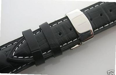 uEWP 19mm Leather Band Deployment Strap for Omega #1 Black