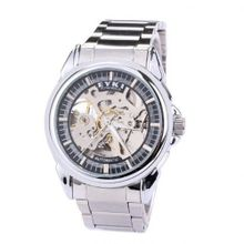 Ufingo-Automatic Mechanical Fashion Hollow Business Creative Unique Casual For /Boys-Silver Black