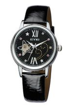 Ufingo-Automatic Mechanical Fashion Hollow Rhinestone Leather Strap For /Ladies/Girls-Black