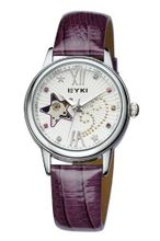 Ufingo-Automatic Mechanical Fashion Hollow Rhinestone Leather Strap For /Ladies/Girls-Purple