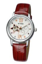 Ufingo-Automatic Mechanical Fashion Hollow Rhinestone Leather Strap For /Ladies/Girls-Red