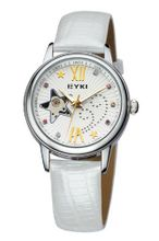 Ufingo-Automatic Mechanical Fashion Hollow Rhinestone Leather Strap For /Ladies/Girls-White