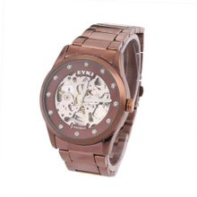 Ufingo-Automatic Mechanical Hollow Rhinestone Fashion Waterproof Retro For /Boys-Steel Band Brown