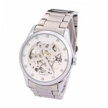 Ufingo-Automatic Mechanical Hollow Rhinestone Fashion Waterproof Retro For /Boys-Steel Band White
