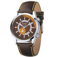 Classic Fashion High Quality Quartz Male Rotating Calendar Decorative Surface Analog Display Black Leather WE8453G Brown Color Dial