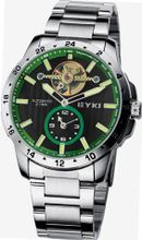 EYKI 8562 Tourbillon Automatic Mechanical Waterproof Wrist Green Dial and Stainless Steel Band