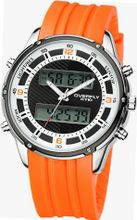 EYKI 8569 Quartz Dual Display Digital LCD Rubber Chronograph Sport Wrist Date White Dial and Orange Leather Band