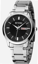 EYKI 8598 Quartz Waterproof Wristes Black Dial and Stainless Steel Band