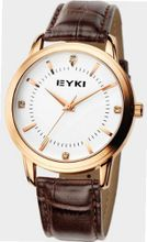 EYKI 8599 Quartz Waterproof Wristes Golden Dial and Leather Band