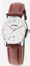 EYKI 8608 Quartz Waterproof Wristes White Dial and Brown Leather Band