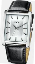 EYKI 8618 Quartz Waterproof Wristes Silver Dial and Black Leather Band