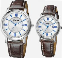 EYKI 8623 Couple es Quartz Waterproof Wristes for Lovers Pair in Package White Dial and Leather Band