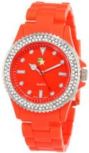 "Fancy Face FF0040OR Candy Collection ""Finley"" Orange Stone Bezel Plastic Bracelet"
