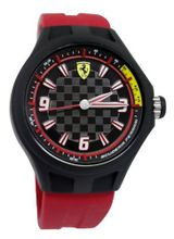 Ferrari 0830002 scuderia pit crew black chequered dial with ferrari logo red silicone band men New