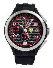 Ferrari 0830015 Scuderia Lap Time Chronograph Black Dial Black Silicon Band  NEW