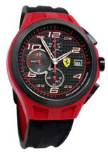 Ferrari 0830017 scuderia lap time chronograph black dial black silicone men NEW