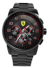 Ferrari 0830054 Scuderia Heritage Black Chrono Dial Steel Band  NEW