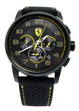 Ferrari 0830061 scuderia heritage chrono black dial black band men NEW