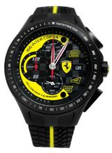 Ferrari 0830078 Scuderia Race Day Black Yellow Chrono Date Rubber  NEW
