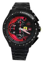 Ferrari 0830086 Scuderia Black / Red Chrono Date Dial Steel Band  NEW