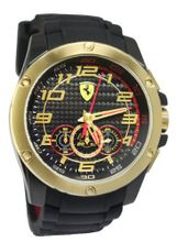 Ferrari 0830089 Scuderia SF104 Chrono Black Dial Silicone Gold  NEW