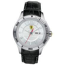 Ferrari 0830092 Black Leather Silver Dial Date & Day