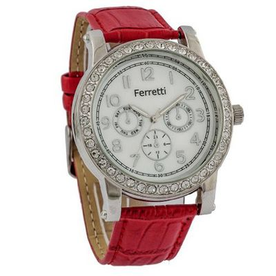 Ferretti Classic Chronograph Cubic Zirconia Red Genuine Leather