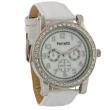 Ferretti Classic Chronograph Cubic Zirconia White Genuine Leather