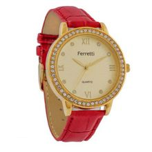 Ferretti FT11302 - Dress - Red Leather Band & Cubic Zirconia Roman Numerals Gold-Tone Dial